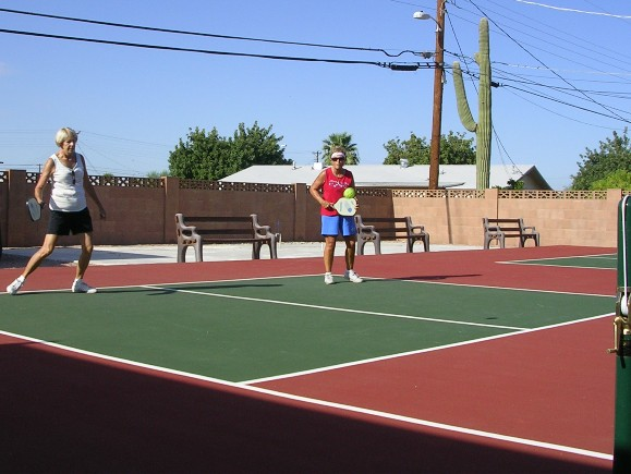 Residents enjoying new pickle-ball courts
